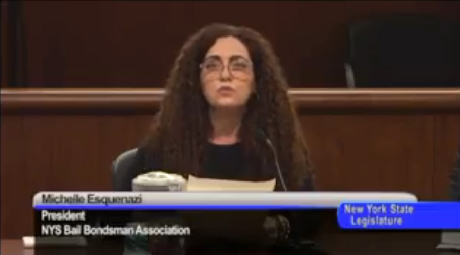 NY Testimony of Michelle Esquenazi, President of New York State Bail Bond Agents Association 1-30-18