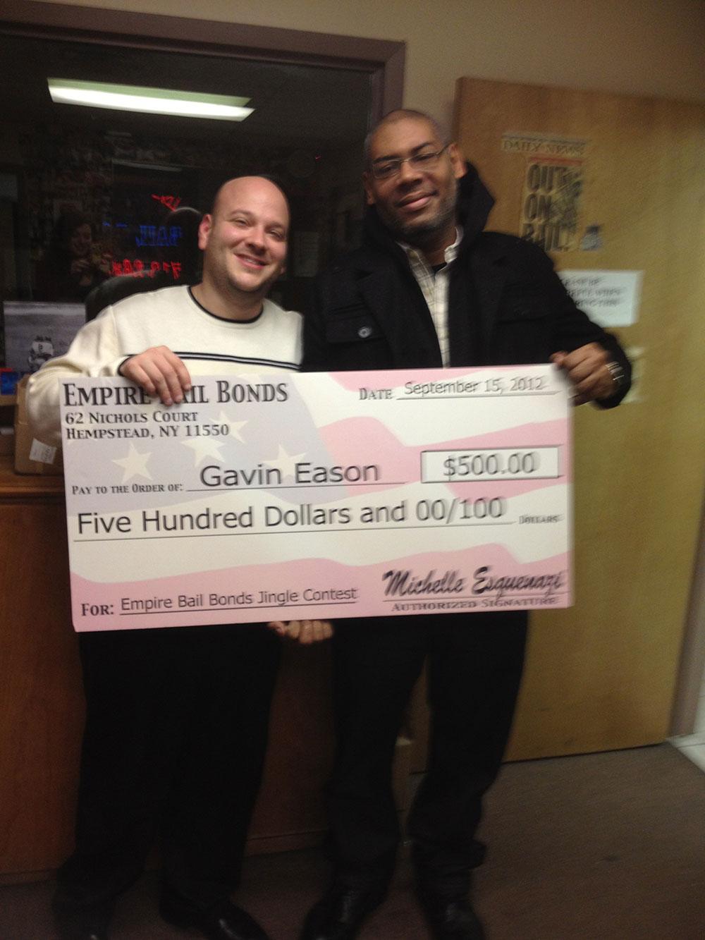 The Bail Bond King awards the EBB Jingle Contest Winner!